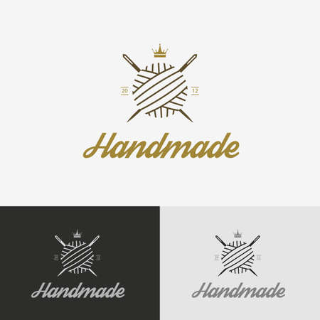 sewing label: Retro insignias. Vector icon for sewing shop with needle Illustration