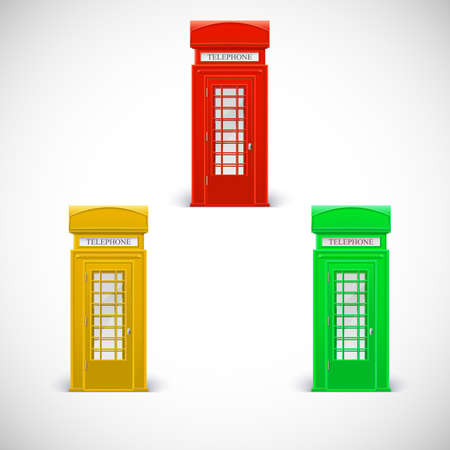 antique booth: Colored telephone booths, Londone style. Vector illustration isolated on a white background