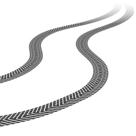 far and away: Tire tracks leading far away. Vector illustration on white background