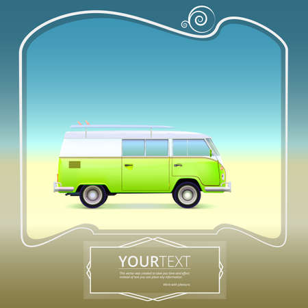 Retro bus with surf boards on summer background vector illustration. Vector