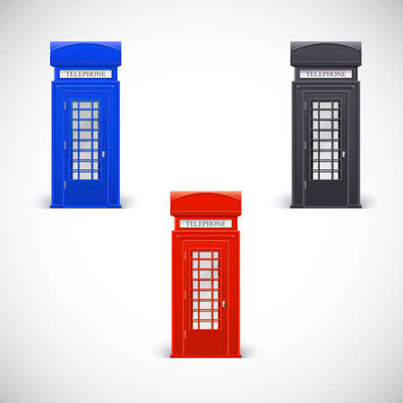 phonebooth: Colored telephone booths, Londone style. Vector illustration isolated on a white background