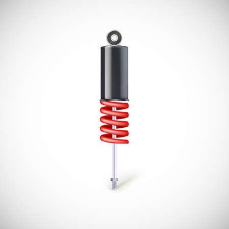 coil car: Car shock absorber and spring. Vector icon, isolated on white background