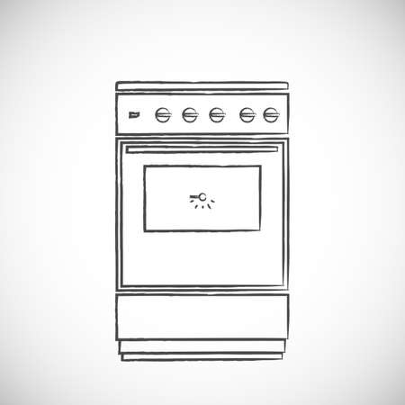 old gas stove: Old vintage oven, sketch vector illustration, doodle style Illustration