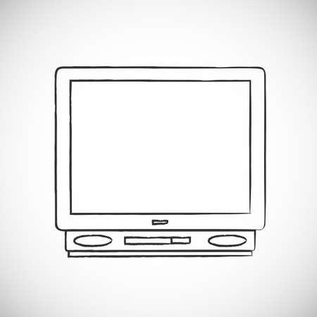 Hand drawn retro TV, sketch vector illustration, doodle style