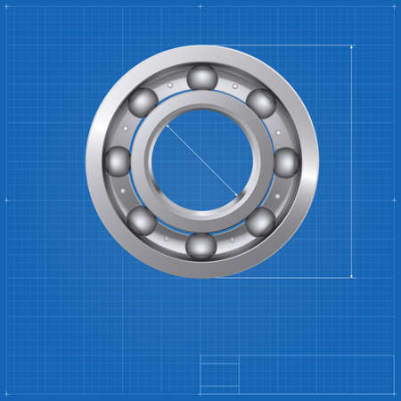 bearing: Ball bearing, isolated on the drawing background, blueprint. Vector illustration for your business