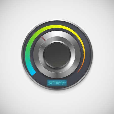digital thermometer: Termostato con indicatori Celsius, isolato su sfondo bianco. Illustrazione vettoriale
