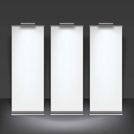 retail display: Vector blank roll up banner display template for designers Illustration