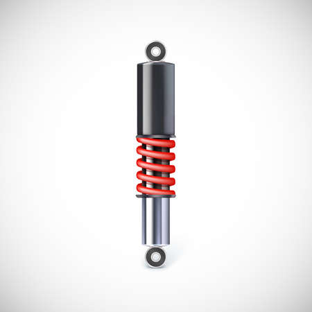 shock absorber: Car shock absorber and spring. Vector icon, isolated on white background