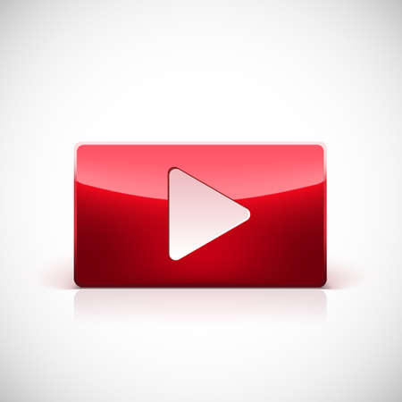 red button: Play button, red glossy button with white triangle turned right isolated over white background