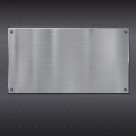 malla metalica: Placa metálica sobre la textura de rejilla, ilustración vectorial para su diseño. Vectores