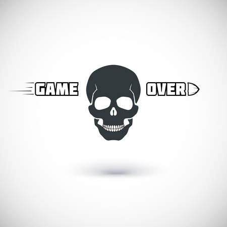 Game over, symbol with skull. Vector illustration for your design.