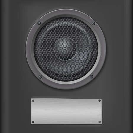 sound speaker: Sound speaker with metal plate on dark background.