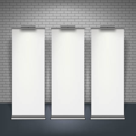 Blank roll up banners set isolated over brick wall, vector illustration.