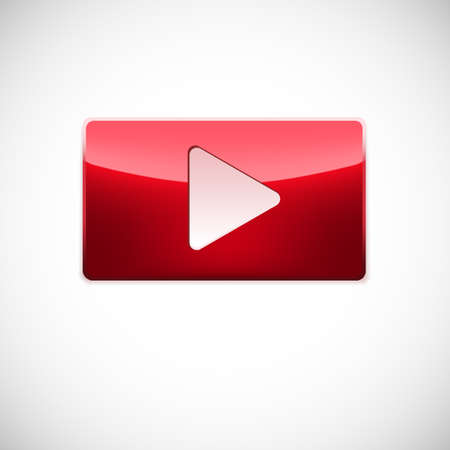 Play button, red glossy button with white triangle turned right isolated over white background