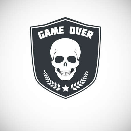 Game over symbol with skull, star and Laurel branches on background of the shield. Vector illustration for your design. Illustration