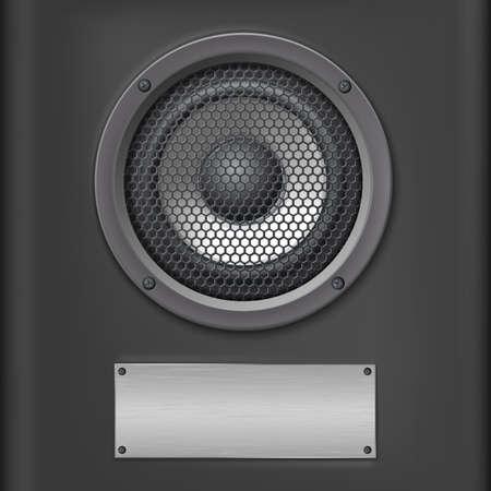 Sound speaker with metal plate on dark background.