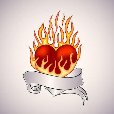 Old-school stijl tatoeage van een vlammend hart. Bewerkbare vector illustratie.
