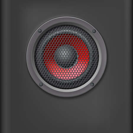 speaker grille: Sound speaker with grille on dark background.
