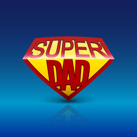 super dad: Super dad shield greeting card on blue background. Editable vector illustration