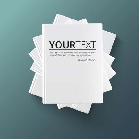 stack: Stack of blank books, top view. Various blank white books on dark background for your desing and presentation.