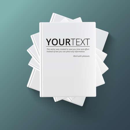 Stapel lege boeken, bovenaanzicht. Diverse lege witte boeken op donkere achtergrond voor uw desing en presentatie.