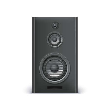 acoustic systems: Black sound speaker on white background. Vector illustration for your design.