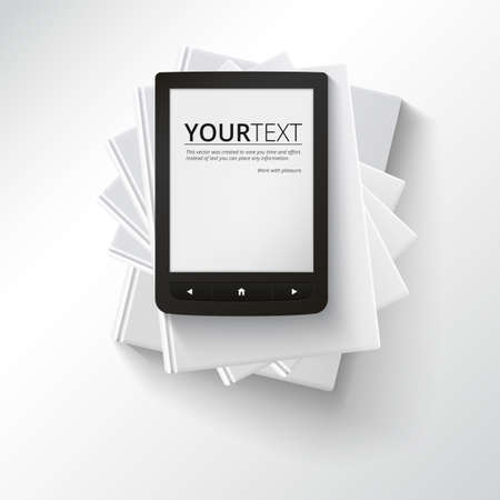 electronic publishing: Stack of blank books with e-book, top view. Various blank books on white background for your desing and presentation, education simbol