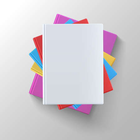 magazine stack: Stack of blank books, top view. Various blank color books on white background for your desing and presentation.
