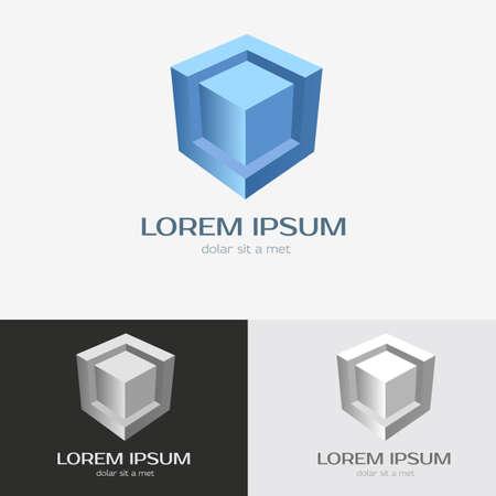 cubo: Modelo abstracto del logotipo de la tecnología. Vector icono editable. Vectores