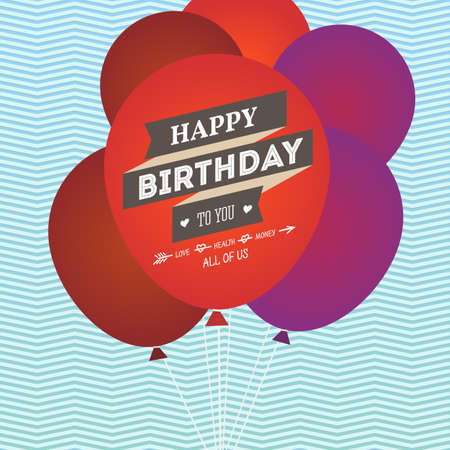 birthday party: Happy birthday greeting card with balloons. Vector illustration for you Illustration