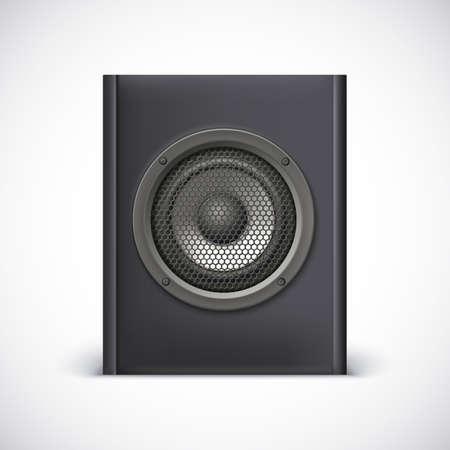 photorealistic: Black sound speaker on white background. Vector illustration for your design.