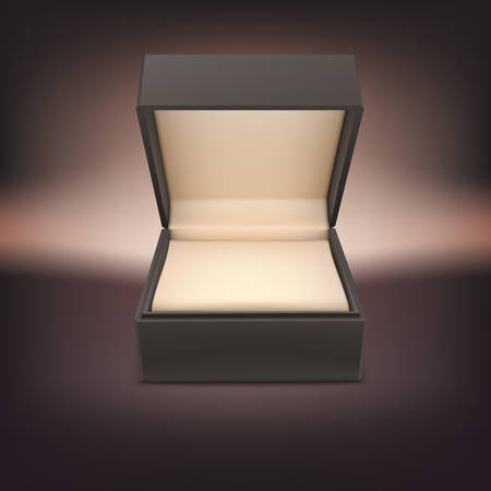Product gift jewelry box. Opened case isolated on a dark background, vector illustration. Çizim