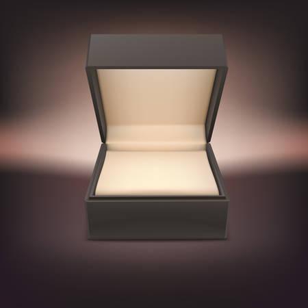 Product sieraden doos. Geopend geval geïsoleerd op een donkere achtergrond, vector illustratie.
