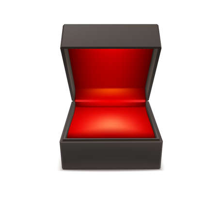 gift box open: Product gift jewelry box. Opened case isolated on a white background, vector illustration. Illustration