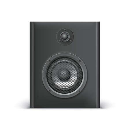 sound speaker: Black sound speaker on white background. Vector illustration for your design.