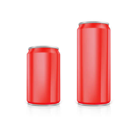 scalable: Set of red blank aluminium cans.  Drawn with mesh tool. Fully adjustable and scalable
