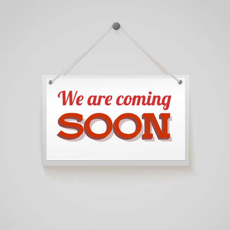coming soon: Coming soon sign new upcoming attraction or event, isolated on white background