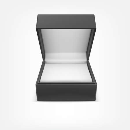 closed box: Black closed box for jewelry and gifts isolated on white background Illustration