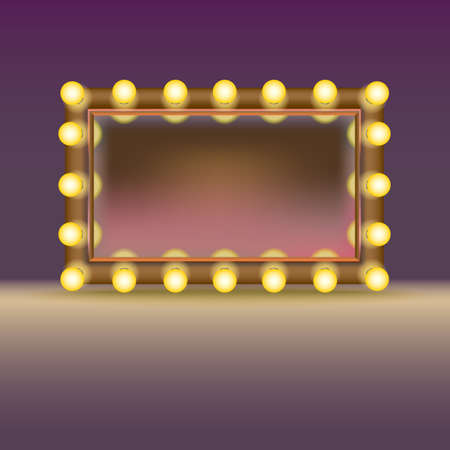 Makeup mirror with lamps and reflection, isolated on white background Çizim