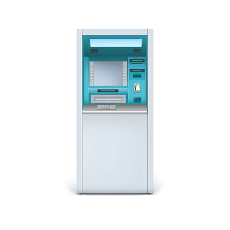 automatic transaction machine: Cajero automático cerca. ATM aisladas sobre fondo blanco para el diseño y los negocios