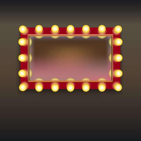 Make-up spiegel met verlichting en reflectie, geïsoleerd op witte achtergrond Stock Illustratie