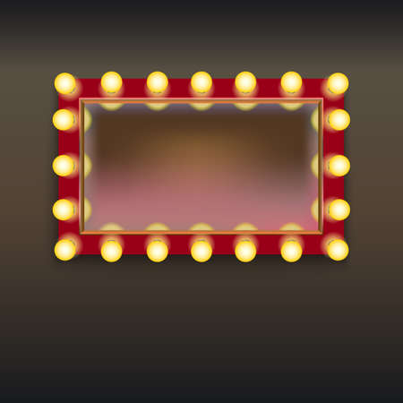 dressing: Makeup mirror with lamps and reflection, isolated on white background Illustration