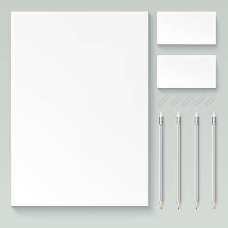 Vector realistic branding mock up, isolated on white background with sheets of paper, business cards, pencils and paper clips