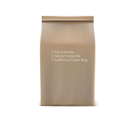 brown paper bag: Classic brown paper bag, fully editable vector object for your business and design