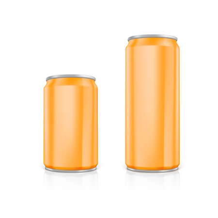 scalable set: Set of orange blank aluminium cans.  Drawn with mesh tool. Fully adjustable and scalable Illustration