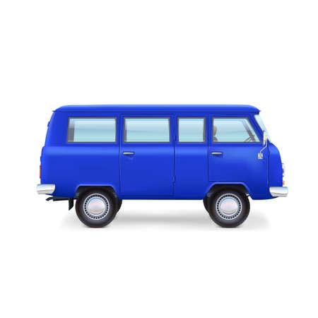 white van: Travel van isolated on white background. Retro bus.