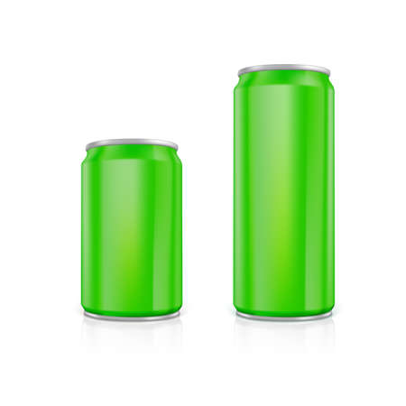 scalable: Set of green blank aluminium cans.  Drawn with mesh tool. Fully adjustable and scalable