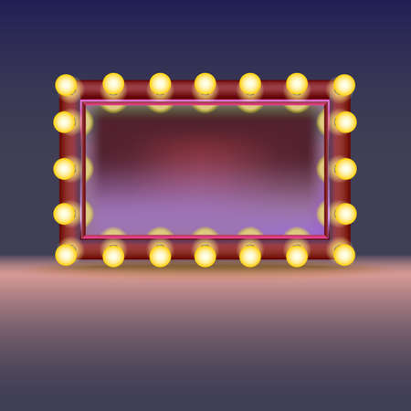 lights: Makeup mirror with lamps and reflection, isolated on white background Illustration