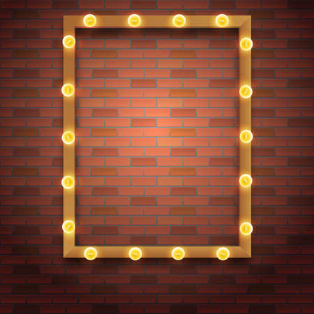 light show: Light bulb frame with space for text. Editable vector template