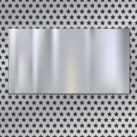 brushed steel: Metal plate over grate texture, stainless steel metal with place for your text, vector illustration for your design.
